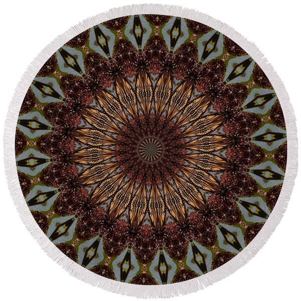 Butterfly Bush Mandala Round Beach Towel