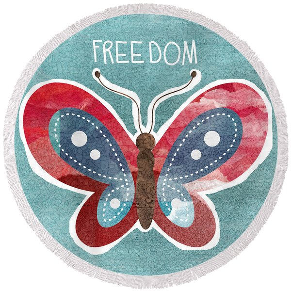 Butterfly Freedom Round Beach Towel