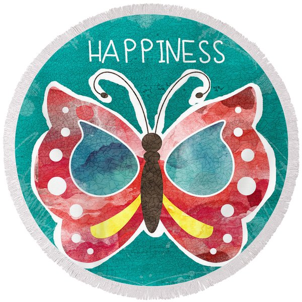 Butterfly Happiness Round Beach Towel