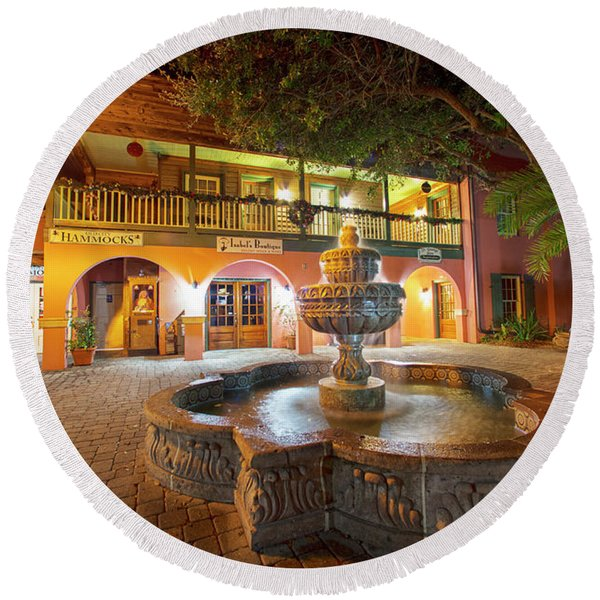 By The Fountain Round Beach Towel