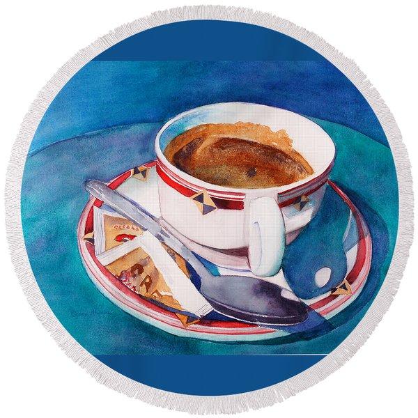 Cafe Con Leche Round Beach Towel