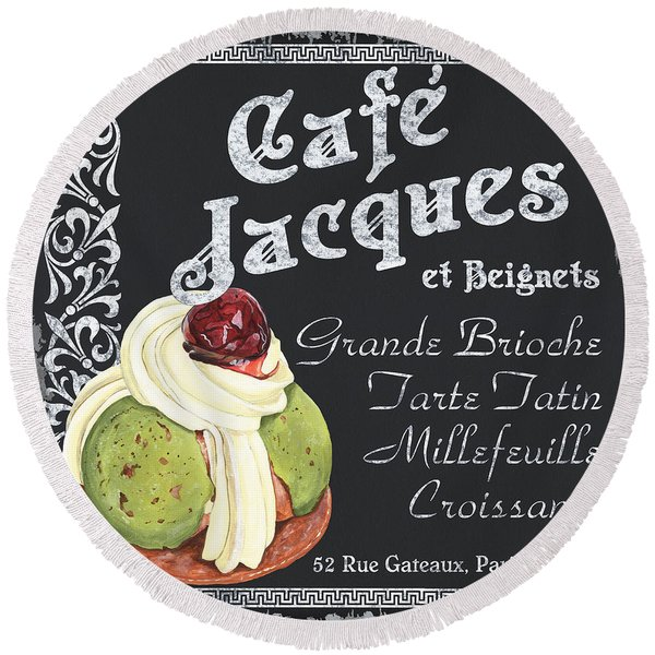 Cafe Jacques Round Beach Towel