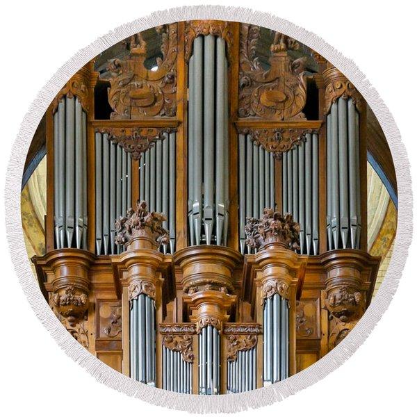 Cahors Cathedral Organ Round Beach Towel