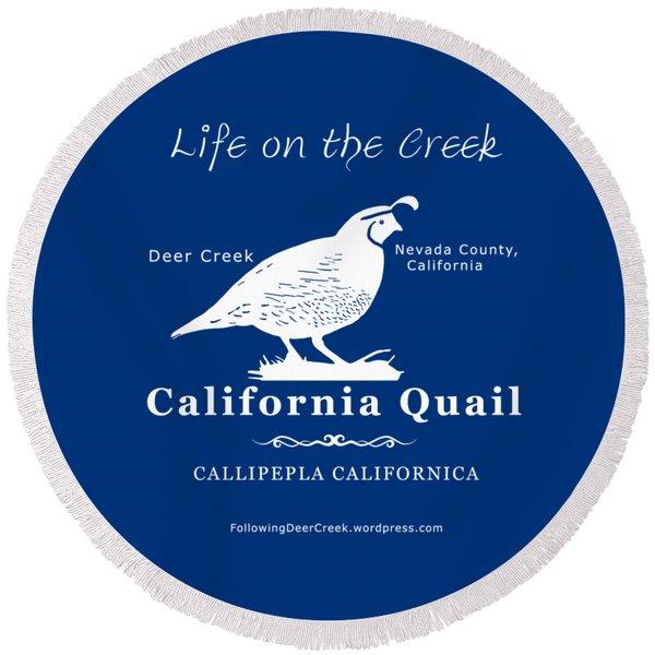 California Quail - White Graphics Round Beach Towel