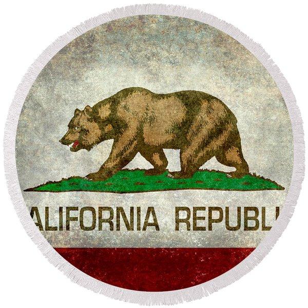 California Republic State Flag Retro Style Round Beach Towel