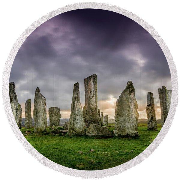 Callanish Stone Circle, Scotland Round Beach Towel