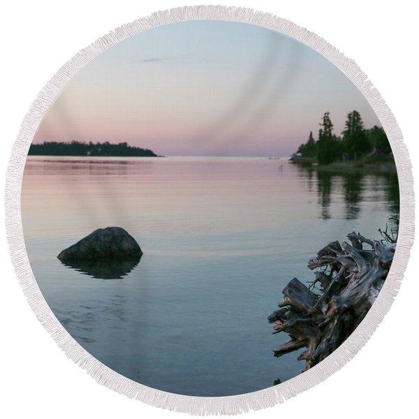 Calm Water At Lake Huron Crystal Point Round Beach Towel