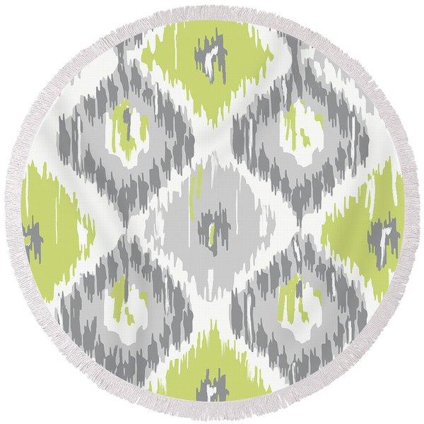 Calyx Ikat Pattern Round Beach Towel