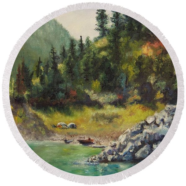 Camping On The Lake Shore Round Beach Towel