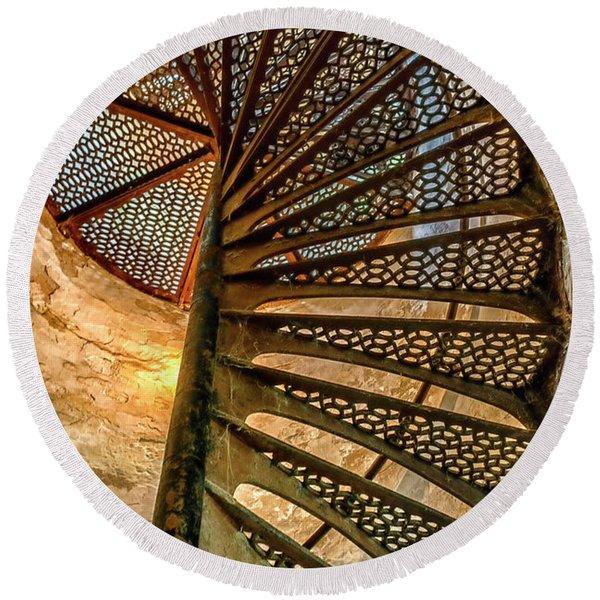 Cana Island Lighthouse Staircase Round Beach Towel