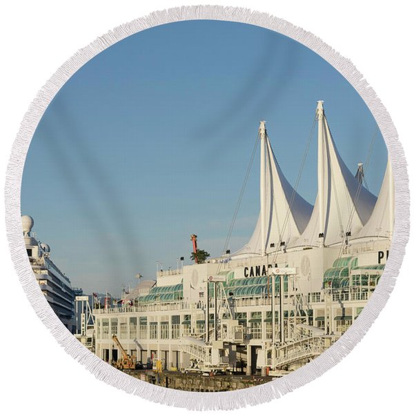 Canada Place Cruise Ship  Round Beach Towel