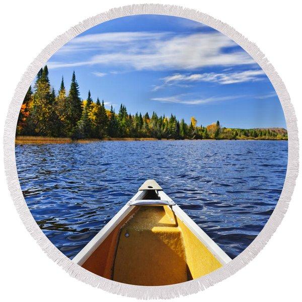 Canoe Bow On Lake Round Beach Towel