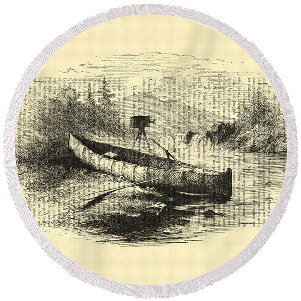 Canoe With Field Camera In Black And White Antique Illustration Round Beach Towel