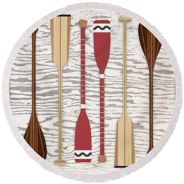 Canoe Paddles And Oars Over Wood Round Beach Towel