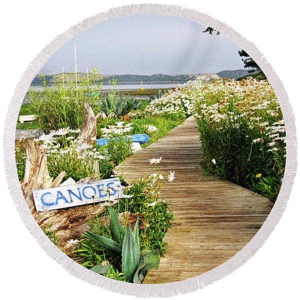 Round Beach Towel featuring the photograph Canoes By Mike-hope by Michael Hope