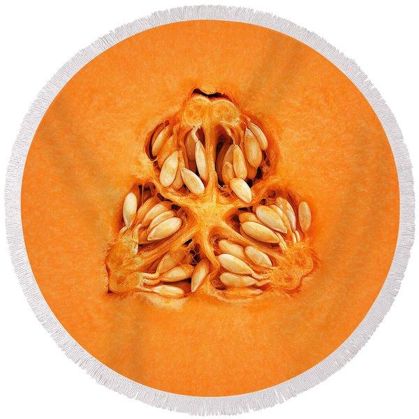 Cantaloupe Melon Inside Round Beach Towel