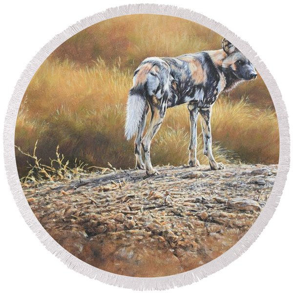 Cape Hunting Dog Round Beach Towel