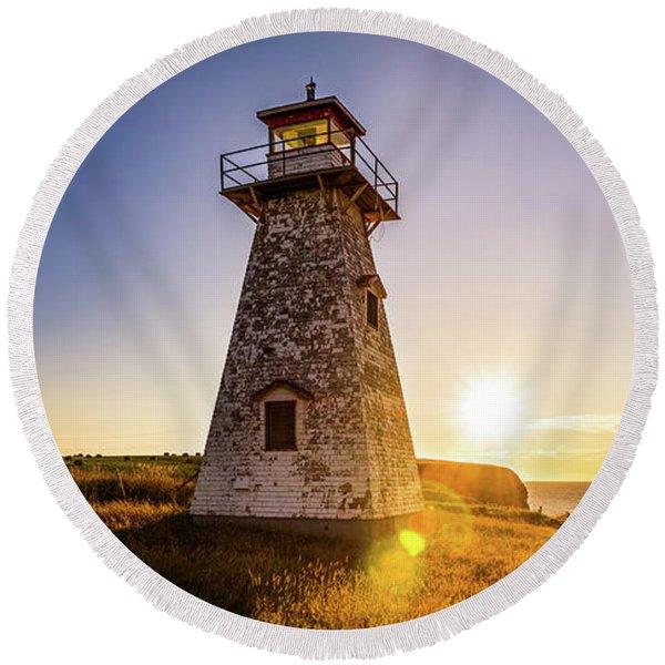 Cape Tryon Light Sunset Round Beach Towel