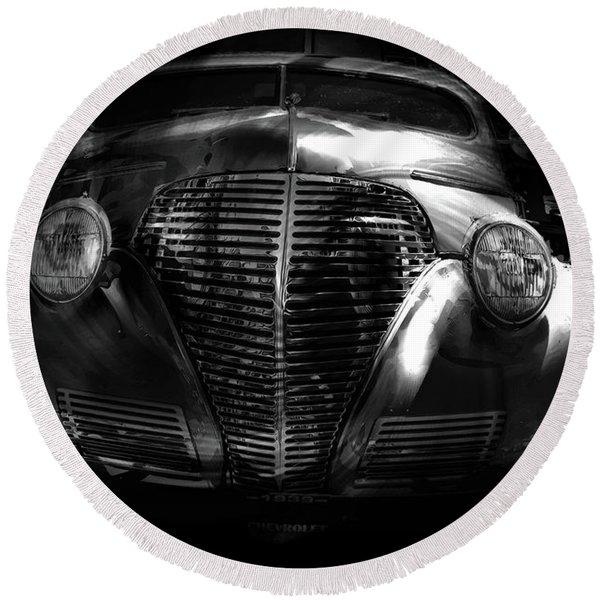 Car Art 1939 In A Bubble Bw Round Beach Towel