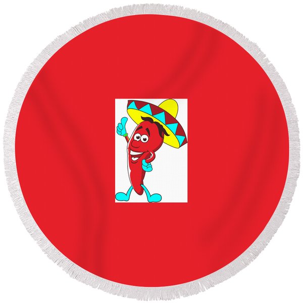 Carrot Character Round Beach Towel