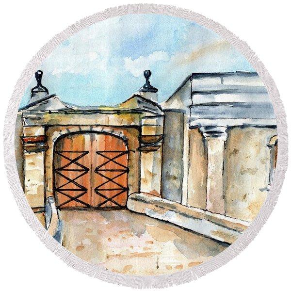 Castillo De San Cristobal Entry Gate Round Beach Towel