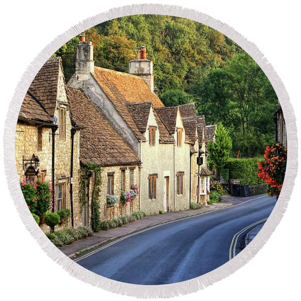 Round Beach Towel featuring the photograph Castle Combe High Street by Michael Hope