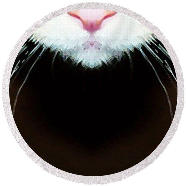 Cat Art - Super Whiskers Round Beach Towel
