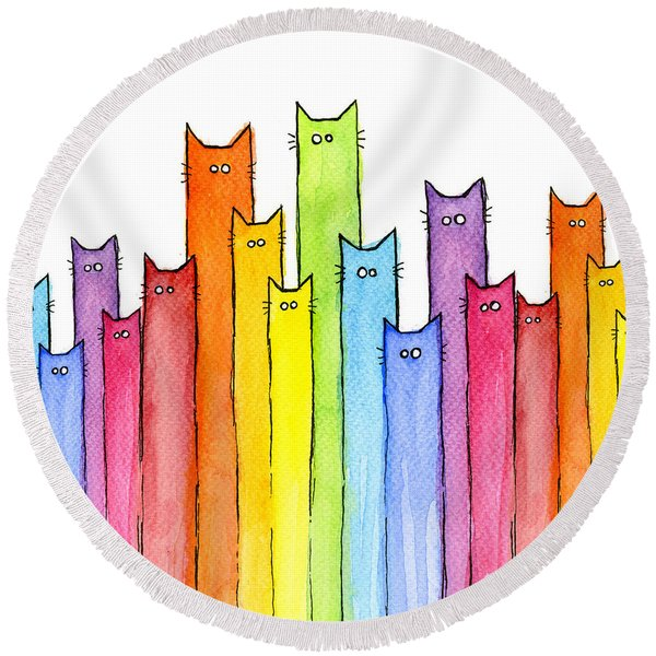 Cat Rainbow Watercolor Pattern Round Beach Towel