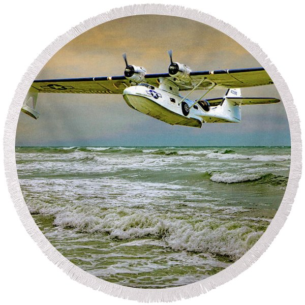 Catalina Flying Boat Round Beach Towel