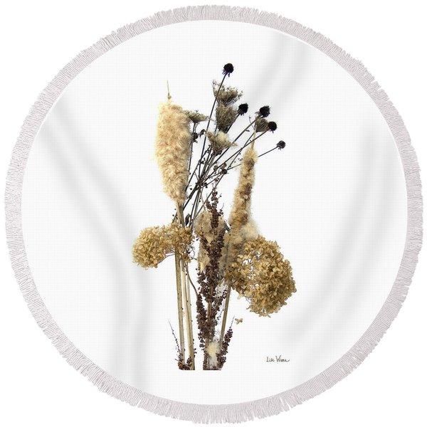 Cattails And November Flowers II Round Beach Towel