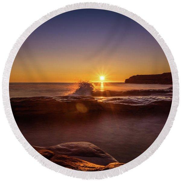 Cavendish Waves At Sunrise Round Beach Towel