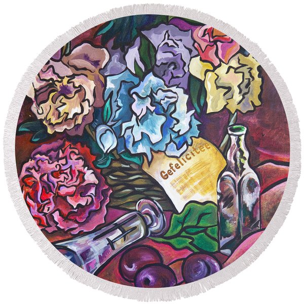 Round Beach Towel featuring the painting Celebration Flowers by Ariadna De Raadt