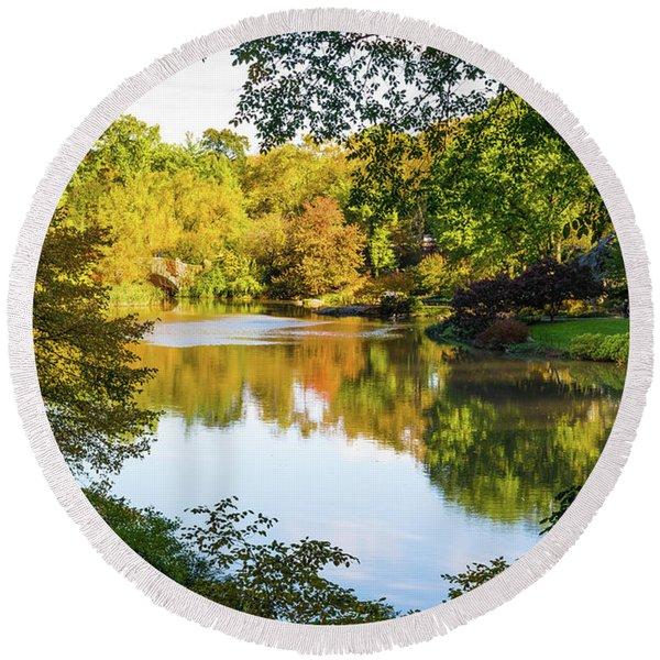 Central Park - City Nature Park Round Beach Towel