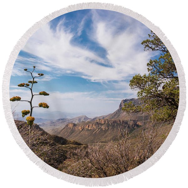 Round Beach Towel featuring the photograph Century Plant Overlook At Big Bend by Lon Dittrick