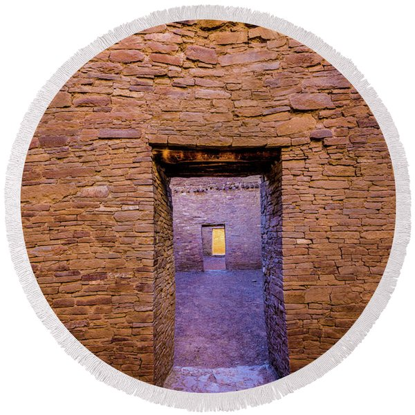 Chaco Canyon - Pueblo Bonito Doorways - New Mexico Round Beach Towel