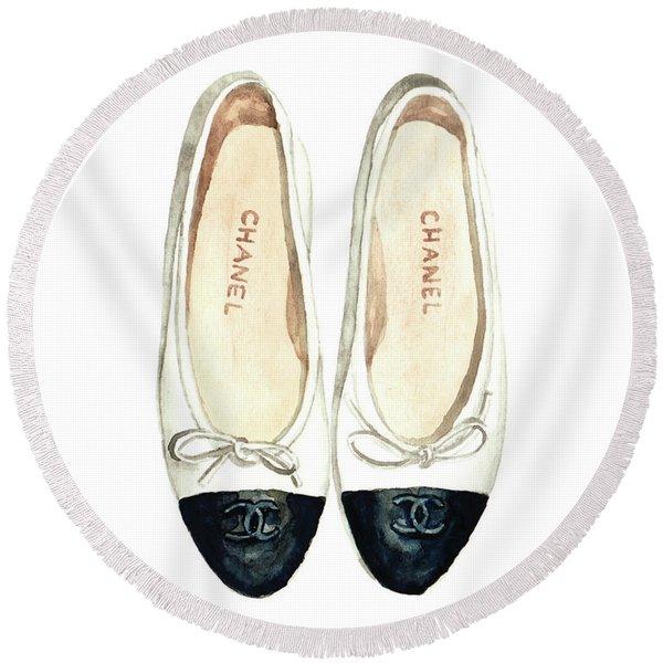 Chanel Ballet Flats Classic Watercolor Fashion Illustration Coco Quotes Vintage Paris Black White Round Beach Towel