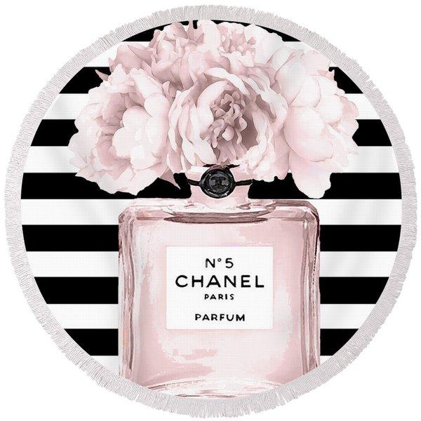 Chanel N.5, Black And White Stripes Round Beach Towel