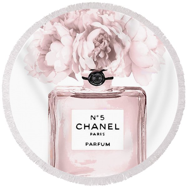 Chanel N.5 Perfume 9 Round Beach Towel