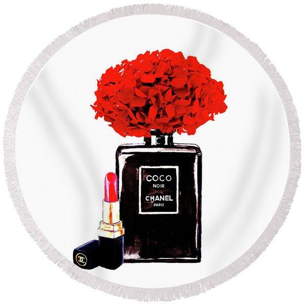 Chanel Noir Perfume With Red  Hydrangea  Round Beach Towel