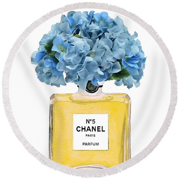 Chanel Perfume Nr 5 With Blue Hydragenias  Round Beach Towel