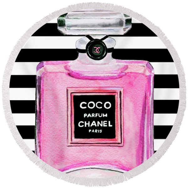 Chanel Pink Perfume 1 Round Beach Towel