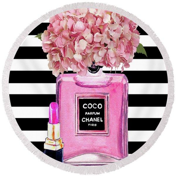 Chanel Poster Pink Perfume Hydrangea Print Round Beach Towel
