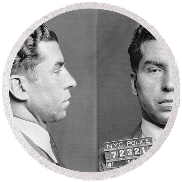 Charles Lucky Luciano Round Beach Towel