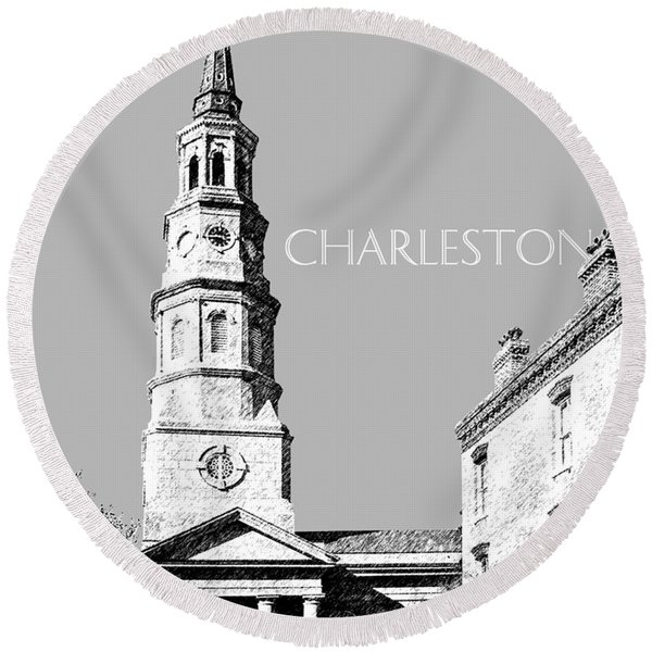 Charleston St. Phillips Church - Silver        Round Beach Towel