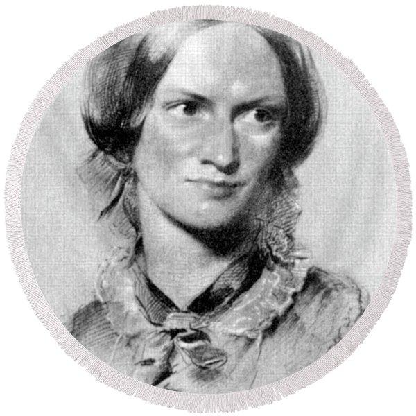 Charlotte Bronte British Novelist Round Beach Towel