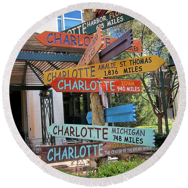 Round Beach Towel featuring the photograph Charlotte Where Are You? by Mary Lee Dereske