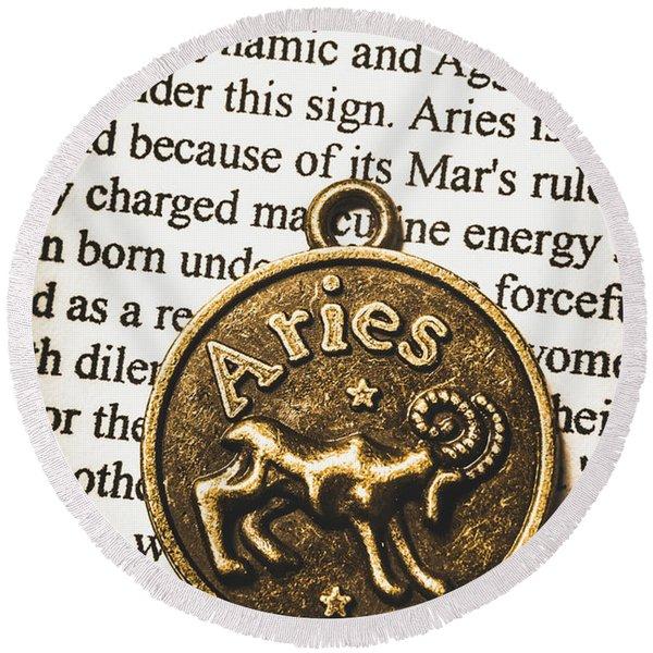 Charm Of Aries Round Beach Towel