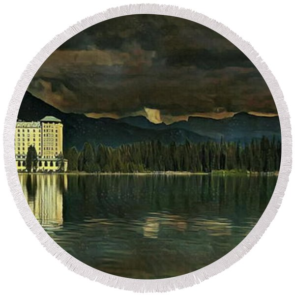 Chateau Lake Louise Round Beach Towel