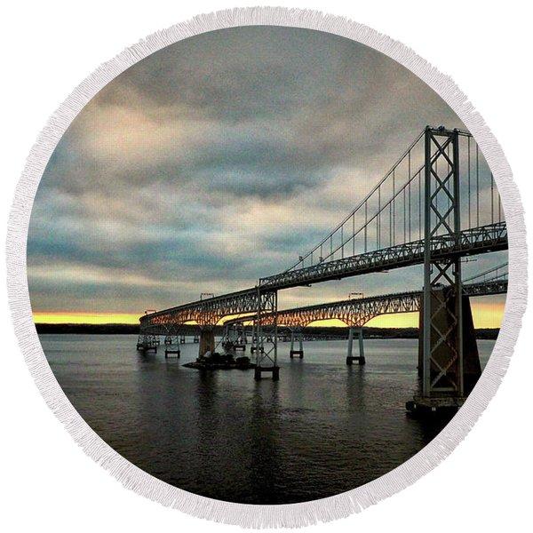 Chesapeake Bay Bridge At Twilight Round Beach Towel