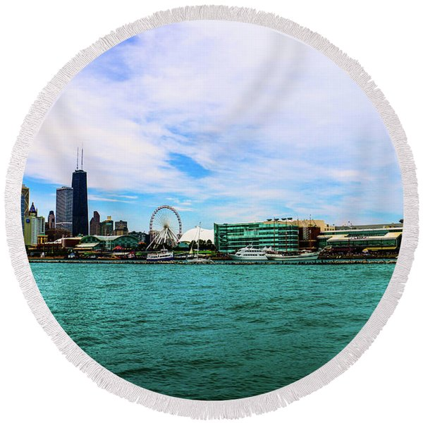 Chicago Blue Round Beach Towel